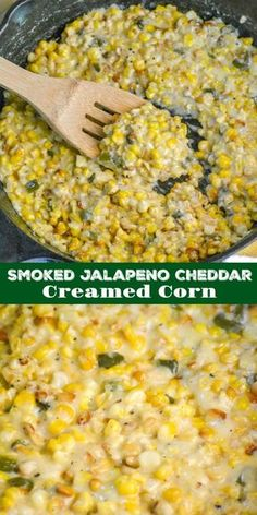 This is not your Grandma's creamed corn. This version is sweet, smokey, and infused with a heady combination of roasted jalapeno and tangy cheddar. Smoked Jalapeno Cheddar Creamed Corn is a must have side to your favorite smoked meat, making for an easy & Smoked Jalapeno, Roasted Jalapeno, Jalapeno Cheddar, Jalapeno Cream Corn, Smoked Corn Recipe, Smoked Meat Recipes, Cheddar Cheese, Corn Dishes, Vegetable Dishes