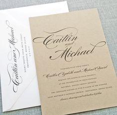 NEW Caitlin Script Recycled Kraft Wedding Invitation Sample - Rustic Recycled Wedding Invitation