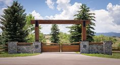 A grand gate introduces the series of arrival sequences to be taken in along the private drive to the main ranch grounds. Farm Entrance, House Entrance, Entrance Ideas, Driveway Entrance Landscaping, Driveway Gate, Farm Gate, Farm Fence, Front Gates, Entrance Gates