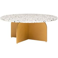 Fish and Pink Confetti medium Terrazzo Coffee Table - Yellow ($1,200) ❤ liked on Polyvore featuring home, furniture, tables, accent tables, black, pink candy table, pink furniture, onyx table, black table and adjustable coffee table