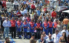 At the 38th Annual Toyota Grand Prix of Long Beach. Race teams line up on the grid during National Anthem. (Scott Varley, PRESS-TELEGRAM)