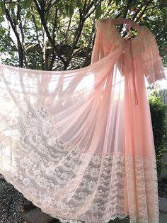 06fa6f9f68e6 Items similar to 1970's Vintage Intime Of California Apricot & Peach Nylon  Chiffon Peignoir Robe on Etsy