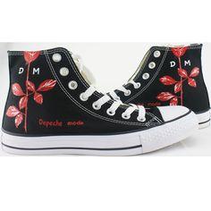 Depeche Mode Rose High-top Painted Canvas Shoes Design Your Own Shoes, Mode Rose, Painted Canvas Shoes, Art Inspo, Converse Chuck Taylor, High Tops, High Top Sneakers, Fashion, Depeche Mode