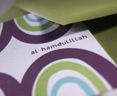 4 Al Hamdulillah Cards- Sweet mountain peak letterpress cards. A great pick for any aqiqah, walimah or just to send your salams. $8.00