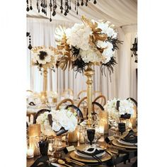 Nigerian Wedding: A Great Gasby Inspired Black, White & Gold Wedding Decor Inspiration By Kat Minassi Events & Design Great Gatsby Theme, Gatsby Themed Party, Great Gatsby Wedding, Art Deco Wedding, Trendy Wedding, Wedding White, Gold Wedding Decorations, Reception Decorations, Wedding Centerpieces
