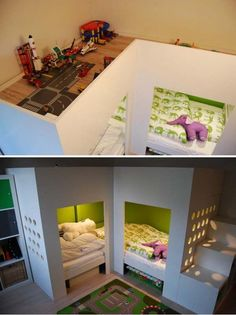 IKEA Mydal Loftbed with Play Area: With 2 Mydal loftbeds, 1 trofast storage combination, 1 or 2 Kusiner box storage, the parents made a bed for two boys where they could both sleep downstairs and thus have a playground on top. See more instructions