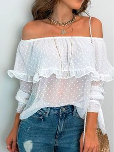Sexy Boat Neck Ruffled Long Sleeve Polka Dot Top blouses for women,blouses for women chic,blouses fo Cute Blouses, Shirt Blouses, Blouses For Women, Shirts, Casual Outfits, Cute Outfits, Fashion Outfits, Womens Fashion, Fashion Blouses