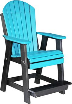 This sturdy balcony Adirondack chair features a built-in footrest for ease of use and comfort. Order this comfortable balcony height dining chair online. Balcony Chairs, Balcony Furniture, Garden Chairs, Outdoor Furniture, High Chairs, Furniture Chairs, Outdoor Seating, Outdoor Chairs, Comfortable Dining Chairs