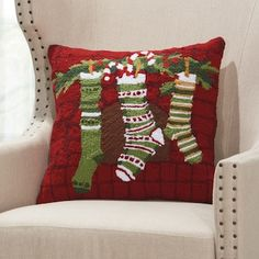 Seasonal style is close at hand with this Mina Victory Home for the Holidays Christmas Stockings throw pillow. Christmas Tale, Christmas Sewing, Miniature Christmas, All Things Christmas, Christmas Holidays, Christmas Cushions To Make, Christmas Pillow Covers, Christmas Projects, Christmas Crafts