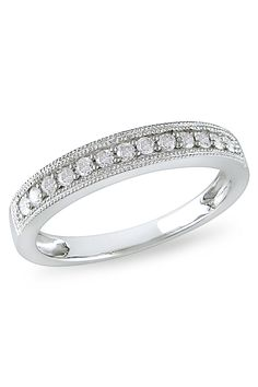 0.25 CT Diamond Wedding Band Ring In 10k White Gold - Beyond the Rack