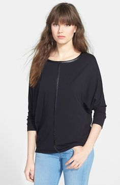 Faux leather dressing a jersey shirt up - long sleeves, so actually closer to winterwear.