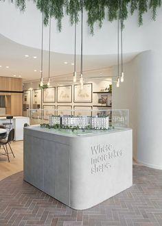Image result for property display suite Kiosk Design, Retail Design, Store Design, Layout Design, Interior Fit Out, Cafe Interior Design, Marketing Office, Recycled Brick, Mockup