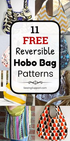 Eleven free reversible hobo bag and purse patterns, tutorials, and diy sewing projects. Slouchy fabric bags easy enough for beginners to sew. How to make a reversible hobo bag. Source by sewingsupport and purses Diy Sewing Projects, Sewing Projects For Beginners, Sewing Hacks, Sewing Tutorials, Sewing Tips, Hobo Bag Tutorials, Sewing Ideas, Sewing Crafts, Diy Crafts
