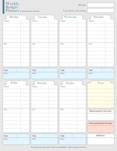 Fan image pertaining to printable weekly budget planner