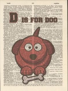 D is for Dog Vintage Upcycled Book Page by StorybookArtPrints