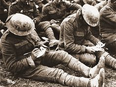 Letters written and received during the First World War were perhaps more important for morale at home and on the front than during any other conflict. Here two soldiers pen their letters to loved ones. Ww1 Soldiers, Wwi, British Soldier, British Army, World War One, First World, Pictures Of Soldiers, Man Of War, Letter Writing