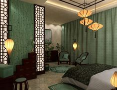 Inspired by various interior design sites, this bedroom is set up in a modern Chinese style. The clear lines of modern design combined with traditional elements create a unique and stylish look. Asian Bedroom Decor, Asian Home Decor, Elegant Home Decor, Modern Chinese Interior, Modern Interior Design, Asian Room, Asian Inspired Decor, Global Decor, 3d Modelle