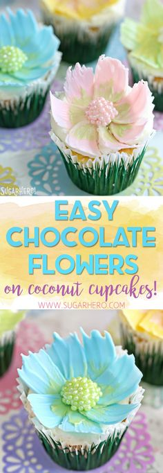 Looking for a cute spring dessert? These Easy Chocolate Flower Cupcakes are simple, fun, and perfect for birthdays and showers! The edible chocolate flowers on top are beautiful, and SO easy to make! | From SugarHero.com  #chocolateflowers #flowercupcakes #springdesserts #springcupcakes #cakedecorating
