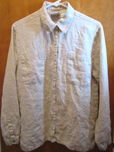 Chico's Design Ladies Size 1 Small Size 8 Linen Button Front Blouse Shirt #Chicos #Blouse #Casual #freeshipping