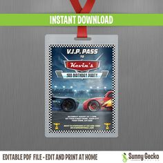 This listing is for a 3 x 4 in. Disney Cars 3 Lightning McQueen and Jackson Storm VIP Pass Birthday Invitation, set to print FOUR per sheet of x 11 inches letter size photographic matte paper or cardstock. The final size of each Pass is 3 x 4 inches. Car Themed Parties, Cars Birthday Parties, Kids Birthday Themes, 3rd Birthday, Happy Birthday, Cars 3 Lightning Mcqueen, Lightening Mcqueen, Jackson Storm, Cars Invitation