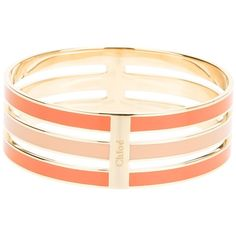 Chloé Bi-Colour Stacked Bangle (730 CAD) ❤ liked on Polyvore featuring jewelry, bracelets, accessories, pulseras, bangles, gold tone jewelry, hinged bangle, orange jewelry, orange bangle bracelet and bangle bracelet