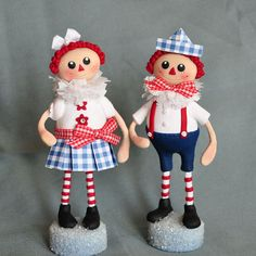 Raggedy Ann and Raggedy Andy in polymer clay by APieceofLisa