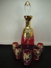 VINTAGE RUBY RED GILD DECANTER SET OF 5 PCS CUPS VENETIAN MURANO ENAMEL GLASS