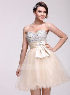 Homecoming Dresses - $128.99 - Empire Sweetheart Knee-Length Tulle Charmeuse Homecoming Dress With Ruffle Beading Sequins (022016085) http://jjshouse.com/Empire-Sweetheart-Knee-Length-Tulle-Charmeuse-Homecoming-Dress-With-Ruffle-Beading-Sequins-022016085-g16085