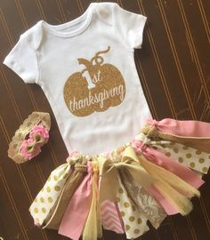 Love all of these tutus and I could make them!.....Pink and Gold Tutu Set Gold Onsie Fall baby by MissyRooCouture