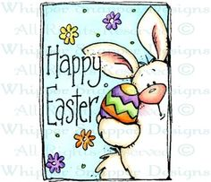 Easter Bunny & Egg - Easter - Holidays - Rubber Stamps - Shop