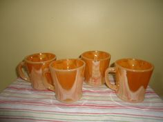 Set of Vintage 4 Fire King Peach Luster Mugs Retro Kitchenalia Cups by jazzejunqueinc on Etsy
