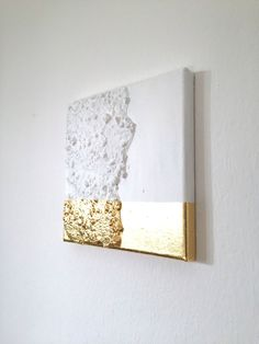 Abstract acrylic painting, modern art from VanDunDesign on Etsy Abstrakte Malerei weiß, Gold G19