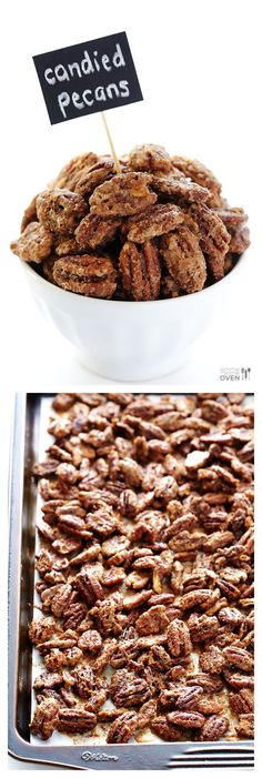 Candied Pecans -- made with just 7 easy ingredients, and perfect for toppings salads, desserts, or just eating plain! | http://gimmesomeoven.com