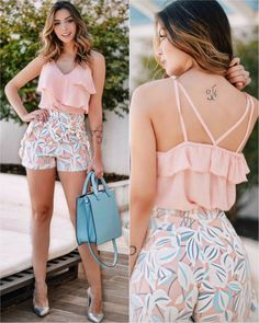 Girly Look Ruffle Top With Floral Shorts