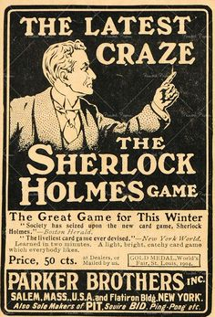 Vintage Parker Brothers Sherlock Holmes Card Game Poster.