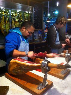 Borough Market, London - Awesome jamon tasting happening here...
