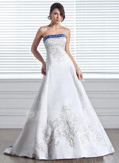 Wedding Dresses - $232.99 - A-Line/Princess Strapless Court Train Satin Wedding Dress With Embroidery Sash Beadwork (002005281) http://jjshouse.com/A-Line-Princess-Strapless-Court-Train-Satin-Wedding-Dress-With-Embroidery-Sash-Beadwork-002005281-g5281