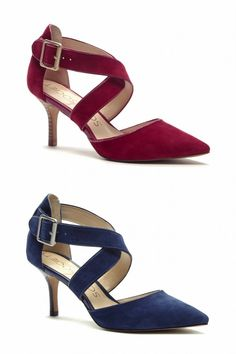 Red & blue suede mid heels with pointed toes and sweeping crossed straps