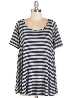 Form and Functions Top in Navy. Deciding what to wear for casual outings becomes simple when you have this navy and grey striped tee in your wardrobe!  #modcloth