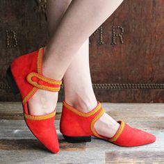 F-TROUPE - Suede Maryjane Shoes (Orange) / エフトゥループ・アンクルストラップシューズ
