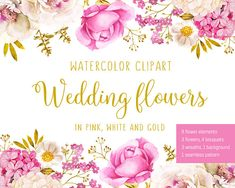 Pink white wedding flowers watercolor illustration clip art. This bundle consists of 8 flower elements, 3 flowers, 4 bouquet compositions, 3 wreaths, 1 background and 1 seamless pattern. You receive 20 high resolution JPG 300 dpi and 20 PNG files with transparent background. Sizes: -