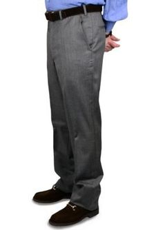 BERLE Medium Grey Gabardine Wool Self Sizer Waistband Trousers