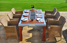 Make Family Night Fun All Season Long iBBQ: We make grilling fun! Dining Room Design, Dining Room Table, Bbq Table, Outdoor Dining, Outdoor Decor, Charcoal Bbq, Best Bbq, Outdoor Entertaining, Contemporary Furniture