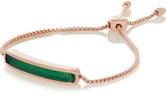 Monica Vinader Baja rose gold-plated green onyx bracelet