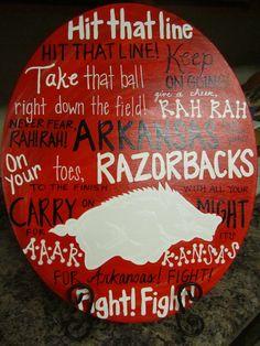 Arkansas Razorback Fight Song Fun Fonts Canvas Painting