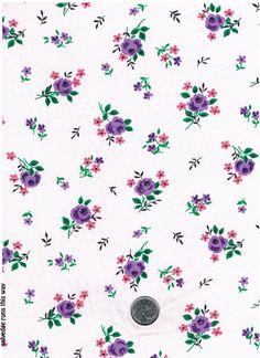 2 Yard Length Oh-So-Pretty Vintage Purple Rose Fabric by TreasureBeachDolls, $7.50