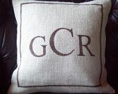 Grain Sack Pillow Cover with Hand Painted Barn Red Stripes on Natural Burlap 16 x 16 by North Country Comforts. $32.00, via Etsy.