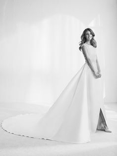 Atelier Ovias Silk Wedding Dress With A Line Skirt