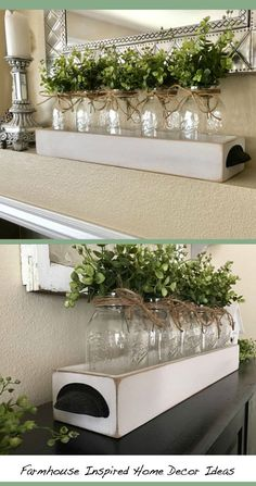 "Etsy Farmhouse, Rustic 25"" long (with handles) mason jar centerpiece. The jars can be painted or left clear and it can include the whispy boxwood or hydrangeas. #etsyfinds #homedecor #ad #farmhouse #rustic #cheap #easy #diy #interior #design #home #decor #ideas #budget #love #beautiful #sale"