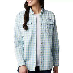 Columbia Womens PFG Bahama Plaid Long Sleeve Shirt | Bealls Florida Plaid Pattern, Columbia, Long Sleeve Shirts, Hiking Outfits, Blue And White, Denim, Jackets, Florida, Outdoors